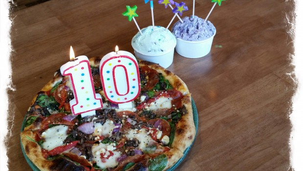 SPIN! Neapolitan Pizza 10th anniversary candles on pizza and gelato