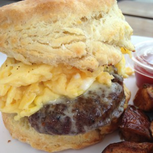 Beef Sausage and Egg Biscuit