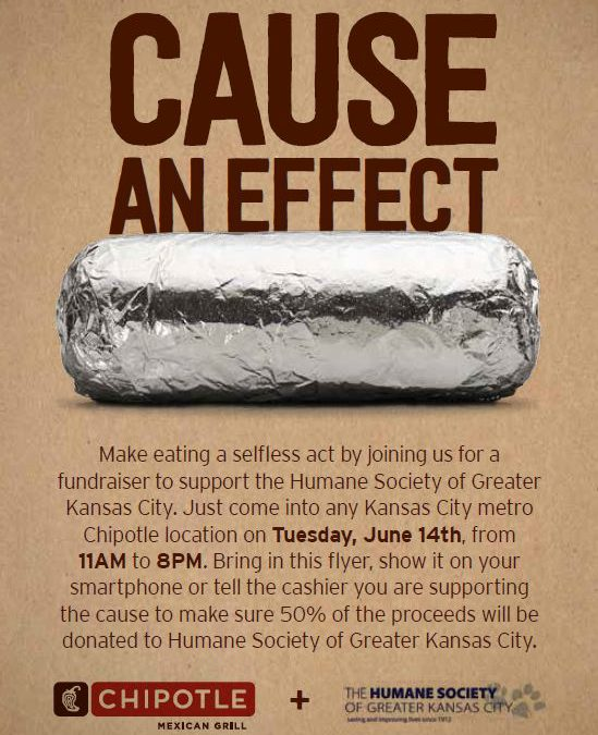 Chipotle Benefits Local Humane Society on June 14