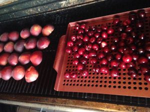 peaches and cherries on grill