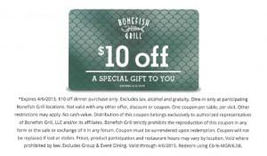 $10 off Bonefish Grill